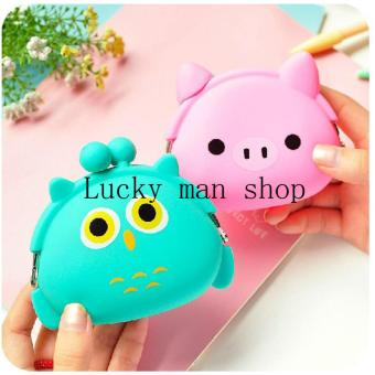 2 pcs set Green/pink Cute Emoji Silicone Coin Purse Coin bag Minikey Wallet Random color