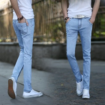 2016 Autumn Men's Fashion Slim Jeans Denim Trousers Feet Pants(Light Blue)
