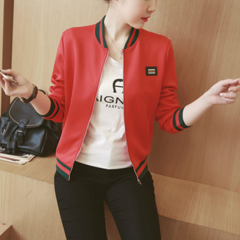 2016 Autumn Winter Long Sleeve Slim Jackets Vintage Stand CollarCeleb Bomber Coats Casual Solid Outwear(Black) - 2