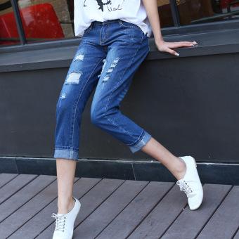 2016 Autumn Women Hole Jeans Denim Nine Pants (Dark Blue) - 2