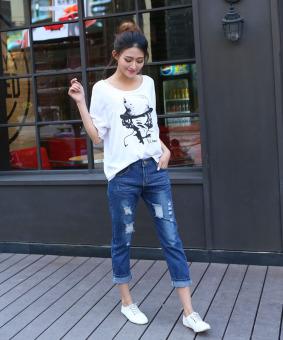 2016 Autumn Women Hole Jeans Denim Nine Pants (Dark Blue) - 5