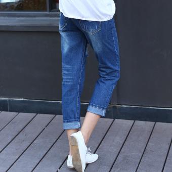 2016 Autumn Women Hole Jeans Denim Nine Pants (Dark Blue) - 3