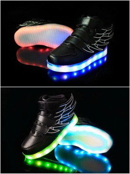 2016 Fashion LED Sneakers Sports Shoes LED Shoes For Kids Boys Girls USB Charging Flashing 7 Colors Sneakers - 4