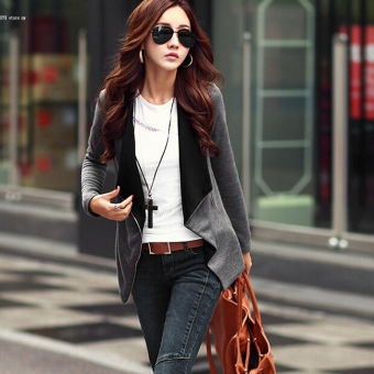 2016 Fashion New Women Casual Long Sleeve Outwear Cardigan ZipBlazer Coat