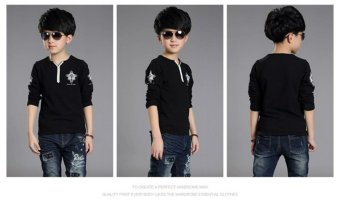 2016 hotsale 2-12 Years children kids baby boys T-shirts SpringAutumn Streetwear Kids Long Sleeve T-Shirts (Black) - intl