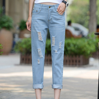 2016 New Fashion Summer Style Women Jeans ripped Holes Harem PantsJeans Slim vintage boyfriend jeans for women - Intl