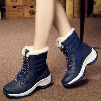 2016 Women Snow Boots Winter Warm Boots Thick Bottom Platform Waterproof Ankle Boots For Women Thick Fur Cotton Shoes Size 35-41 - intl