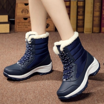 2016 Women Snow Boots Winter Warm Boots Thick Bottom Platform Waterproof Ankle Boots For Women Thick Fur Cotton Shoes Size 35-41 - intl - 4