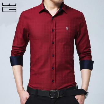 2017 Brand New Men Shirt Male Dress Shirts Men's Fashion CasualLong Sleeve Business Formal Shirt Camisa social masculina (Red) -intl