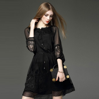 2017 Fashion Europe and the United States Black A Word Skirt WomenSlim Lace Stitching Tie with Long Dress - intl