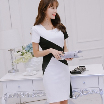 2017 Fashion Joint Hin Thin Dresses office lady OL style Elegant Pencil Slim Splice Dress (white) - intl Price Philippines