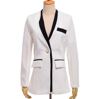 2017 FASHION Women Leisure Solid Color Blazers Stylish Office Lady Slim Small Suit Jackets Coats Tops (White) - intl Price Philippines