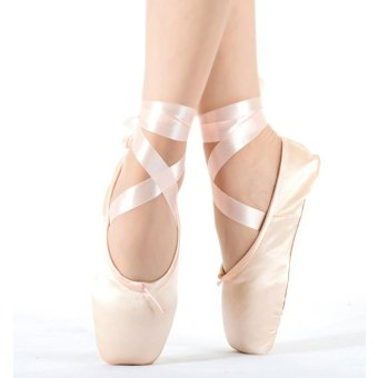 2017 Hot Child and Adult Ballet Pointe Dance Shoes Ladies Professional Ballet Dance Shoes with Ribbons Shoes White - intl