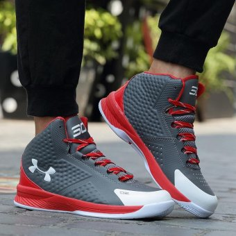 2017 Men Basketball Shoes Anti-Skid Shoes Basketball Boots OutdoorTraining Shoes Stephen Curry Sneakers ( Grey & Red ) - intl