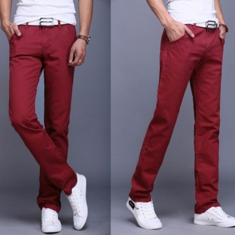 2017 Men Business Casual Slim Fit Pants Mid-Waist Solid Trousers Fashion Mens Straight Cargo Pants Male Chino Lightweight -Burgundy - intl