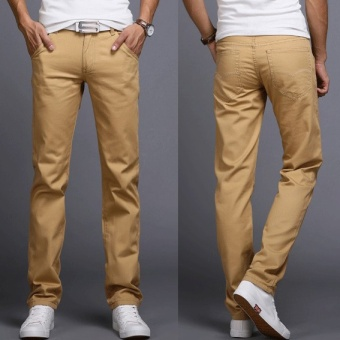 2017 Men Business Casual Slim Fit Pants Mid-Waist Solid TrousersFashion Mens Straight Cargo Pants Male Chino Lightweight -Khaki -intl Price Philippines