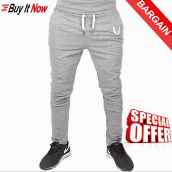 ***2017 Men Pants Casual Elastic cotton Mens Fitness Workout Pantsskinny Sweat pants Trousers Jogger Pants M(Grey) - intl
