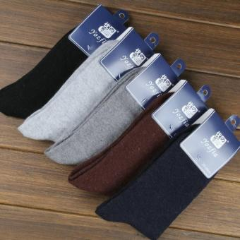 2017 New 10 pieces of 5pairs winter warm socks man The rabbit wool socks Men socks to pure color the extended wool socks (purple) - intl