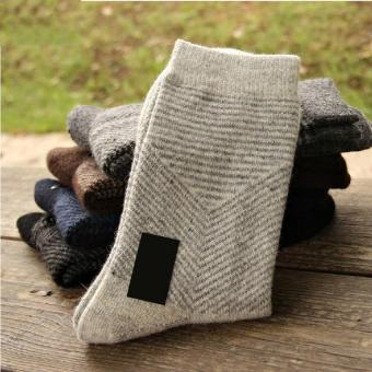 2017 New 10 pieces of 5pairs winter warm socks man The rabbit woolsocks Men socks to pure color the extended wool socks (gray) - intl