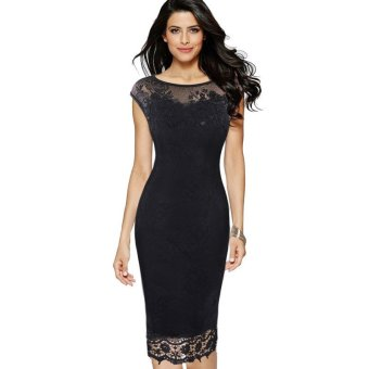 2017 New Arrival Plus Size Women Elegant Embroidered FloralCocktail Bodycon Dress - intl