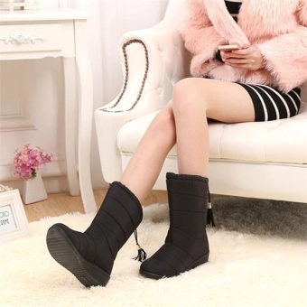 2017 New Arrival Winter Women Snow Boots Fashion Medium Tube Slope with Warm Plus Velvet Boots Waterproof Anti-slip with Tassels 35-40 (black) - 3