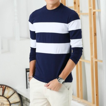 2017 New Autumn Winter Mens Long Sleeve T-Shirt O Neck Striped T Shirt for Men - intl