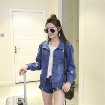 2017 New Autumn Women Denim Coat Jacket Blue Pocket All-match TopsHoles Casual Jacket for Female Ladies Size S-2XL - Intl