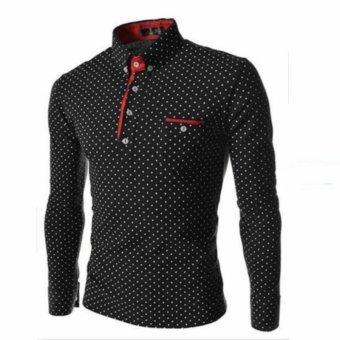 2017 New Brands Mens Dot Long Sleeve POLO Shirts Brands Long SleeveCamisas Polo Stand Collar Male Polo Shirt (Black) - intl