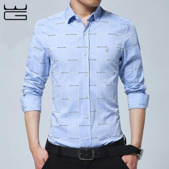2017 New Fashion Casual Men Shirt Long Sleeve Mandarin Collar SlimFit Shirt Men Formal Business Mens Dress Shirts Men Clothes (LightBlue) - intl