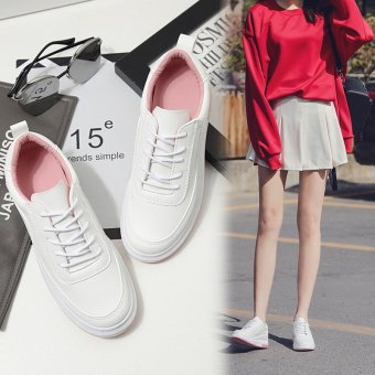 2017 New Fashion Thick White Shoe Lace Up Shoes Lady Running Shoes Korean Students Flat Tide White Sports Shoes Casual Shoes - intl