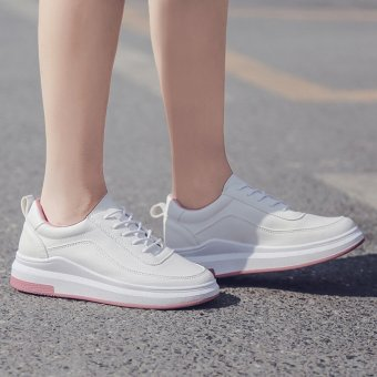 2017 New Fashion Thick White Shoe Lace Up Shoes Lady Running Shoes Korean Students Flat Tide White Sports Shoes Casual Shoes - intl - 2