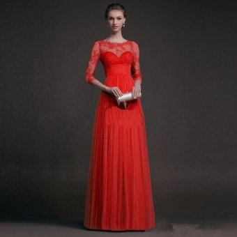 2017 New Formal Dresses Ladies Evening Dresses Long Designer Evening Gowns veil Party Dress Lace Abaya 3/4 Sleeve- Red - intl