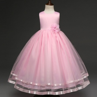 2017 New Princess Dress Girls Party Wear Petals Evening GownChildren's Costume In Girl Clothing Kids Wedding Party Pink - intl