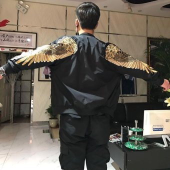 2017 New Spring Black Angel Wing Embroidery Bomber Jacket Men - intl
