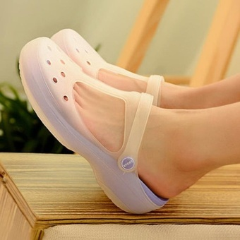 2017 New Style Fashion Woman Summer Change Color Sandals Croc Hollow Beach Shoes Leisure Girls Jelly Female Garden Shoes Gift(purple) - intl