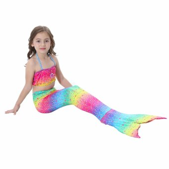 2017 New Style Summer 4-8Y Children Girls Rainbow Mermaid TailPrincess 3pcs/set Swimsuit Kids Bathing Suit Costume S003 - intl