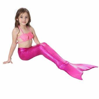 2017 New Summer 4-10 Y Toddler Girls Mermaid Tail Princess 3pcs/setSwimsuit Color Blocking Kids Bathing Suit Costume S002 PinkH - intl - 2