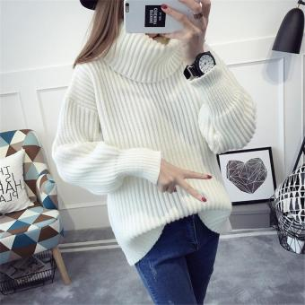 2017 New Winter Female Turtleneck Sweater For Women Solid O-Neck Long-Sleeved Full Ladies Turtleneck Blouses Sweater Bottoming (white) - intl