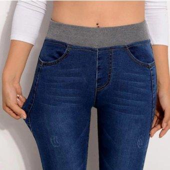 2017 Sexy Jeans Women Casual Waist Elastic Denim Long Pencil Pants Lady Trousers Plus Size(Dark blue) - intl - 2