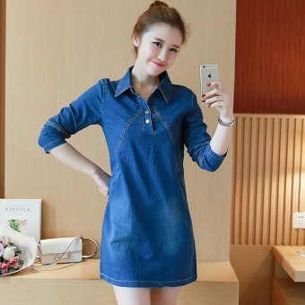 ... Denim Dress - intl Full. 2017 Spring and Summer New Women Korean Version of Large SizeLong-sleeved High-end ...