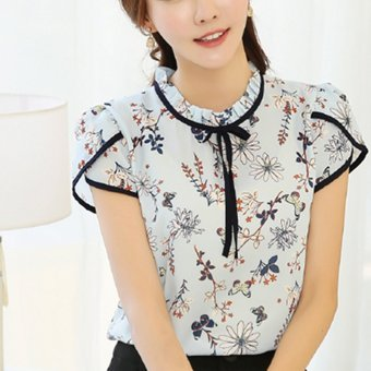 2017 Summer Floral Print Chiffon Blouse Ruffled Collar Bow Neck Shirt Petal Short Sleeve Chiffon Tops (White) - intl Price Philippines