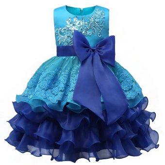 2017 Summer Flower Wedding Princess Dress Girls Children Clothing Kids Dresses for Girl Clothes Tutu Party Dress Purple - intl - 2