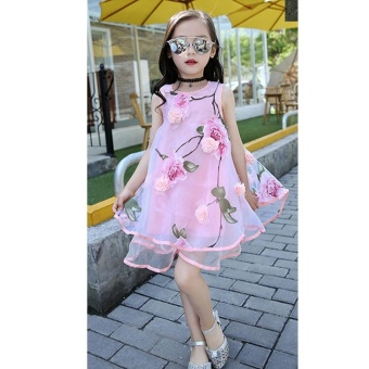 2017 Summer Girls Kids Fashion Flower Lace Knee High Ball Gown Sleeveless Baby Children Clothes Infant Party Dresses - intl