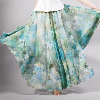 2017 Summer New Fashion Vintage Bohemia Chiffon Floral PrintedWomen Boho Floor-Length Long Maxi Beach Party Loose Flare Skirt(skyblue) - intl - 4