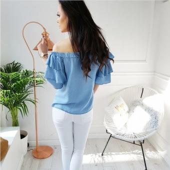 2017 summer new women's Blouses short sleeves, one word shoulderfashion colorful short sleeved shirt - intl - 2