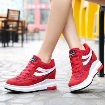 2017 Summer Women Fashion Sneakers Ladies Mesh Breathable HollowOut Wedges Shoes Inner Heightening Shoes Platform Casual SportShoes ( Red ) - intl