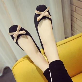 2017 water proof bowtie front women ballet flats size35 for rainyday rubber rain shoes-black - intl