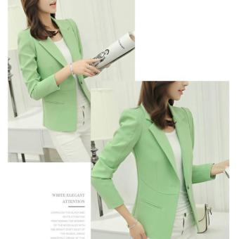 2017 Women Blazers and Jackets Long-sleeve Slim BlazerShort Blazer Single Button for Ladies OL Work Wear (Green) - intl - 2
