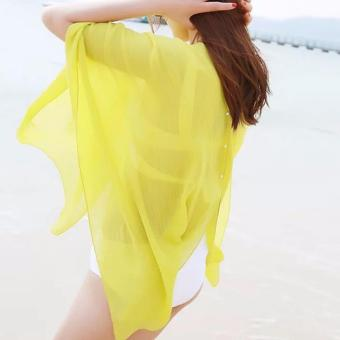 2017 Women Sexy Swimsuit Bathing Suit Beach Wear Cover Up (Yellow)