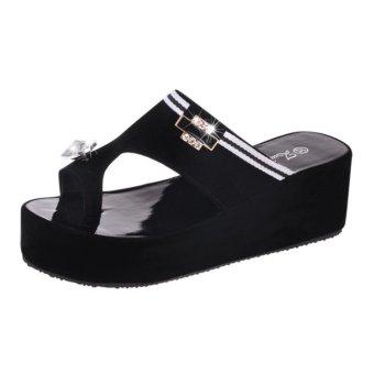 2017 Women's Platform Shoes Toe Clip Heeled Sandals Summer ShoesBling Rhinestone Sandals Outdoor Slippers Black - intl - 4